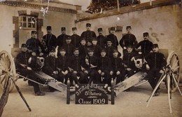CP Photo : Artilleurs Du 37ème Régiment D 'Artillerie , Bourges 1909 - Guerre, Militaire