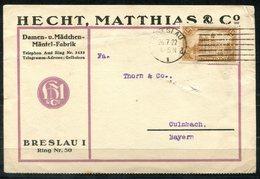 """4518 - D.R. - Geschäftskarte Hecht, Matthias & Co. Mit Mi.Nr. 113, Perfin """"H.M./C."""" - Von Breslau Nach Kulmbach - Deutschland"""