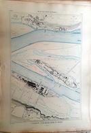 44 COUERON INDRE ET INDRET LOIRE ATLAN  PLAN DU PORT ET DE LA VILLE  EN 1883 DE L'ATLAS DES PORTS DE FRANCE 49 X 67 Cm - Cartas Náuticas