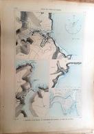 56 BELLE ILE SAUZON  PALAIS PORT MARIA  PLAN DU PORT ET DE LA VILLE  EN 1879 DE L'ATLAS DES PORTS DE FRANCE 49 X 67 Cm - Cartes Marines
