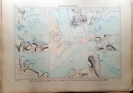 29 PORT LAY TUDY LOMENER PENERF LE PO  PLAN DU PORT ET DE LA VILLE  EN 1879 DE L'ATLAS DES PORTS DE FRANCE 49 X 67 Cm - Cartas Náuticas