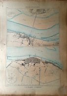 44 LE PELLERIN PAIMBOEUF  PLAN DU PORT ET DE LA VILLE  EN 1883 DE L'ATLAS DES PORTS DE FRANCE 49 X 67 Cm - Cartas Náuticas