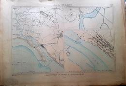 85 L'AIGUILLON SUR MER LE LAY MORICQ   PLAN DU PORT ET DE LA VILLE  EN 1883 DE L'ATLAS DES PORTS DE FRANCE 49 X 67 Cm - Seekarten