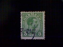 Denmark (Danmark), Scott #97, Used (o), 1913, King Christian X, 5ø, Green - Used Stamps