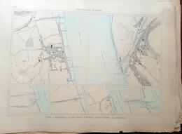 33 BLAYE PAUILLAC  SAINT ESTEPHE   PLAN DU PORT ET DE LA VILLE  EN 1883 DE L'ATLAS DES PORTS DE FRANCE 49 X 67 Cm - Cartas Náuticas