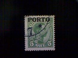 Denmark (Danmark), Scott #J2, Used (o), 1921 Postage Due, King Christian X, 5ø, Green - Used Stamps