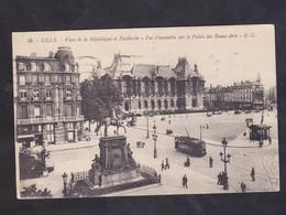 CPA - 59 - LILLE - PLACE DE LA REPUBLIQUE ET FAIDHERBE - PALAIS DES BEAUX ARTS - Lille