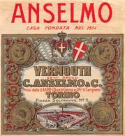 """0337 """"VERMOUTH SEMI SECCO - C. ANSELMO & C. - TORINO"""" ETICH. ORIG. - LABEL WITH TRAIN - Altri"""