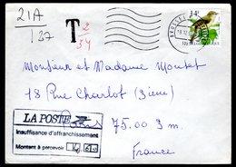 2623 Sur Lettre Expédiée Vers La France + Taxe - 1985-.. Vögel (Buzin)