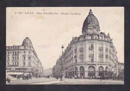 CPA - 59 - LILLE - RUE FAIDHERBE - HOTEL CARLTON - ANIMEE - PERSONNAGE - VOITURE - Lille