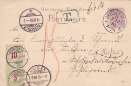 Schweiz Postkarte 1885 Porto - 1882-1906 Stemmi, Helvetia Verticalmente & UPU