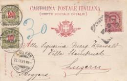 Schweiz Postkarte 1899 Porto - 1882-1906 Stemmi, Helvetia Verticalmente & UPU