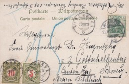 Schweiz Postkarte 1902 Porto - 1882-1906 Armoiries, Helvetia Debout & UPU
