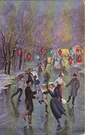 AK Eisläufer - Lampions - Künstlerkarte Schröple - Teschen 1908 (40503) - Künstlerkarten