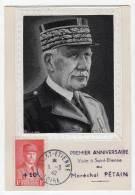 CARTE MAXIMUM - 1942 -  Maréchal  PETAIN   (St Etienne) - Maximum Cards