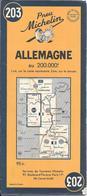 CARTE-ROUTIERE-MICHELIN-N°203-1952-ALLEMAGNE-TBE - Cartes Routières