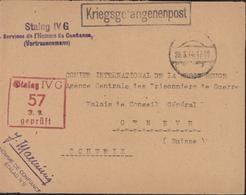 Kriegsgefangenenpost Stalag IVG Services De L'Homme De Confiance Vertrauensmann + Stalag IVG 57 Gepruft CAD 20 3 44 - Allemagne