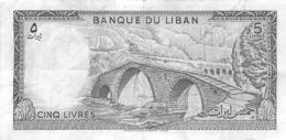 BILLET  LIBAN  CINQ LIVRES - Liban