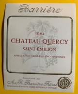 10221 - Château Quercy 1981   Saint Emilion - Bordeaux