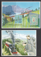 1991 Dominica Switzerland Cog Railways Trains Sherlock Holmes Complete Set Of 2 Souvenr Sheets  MNH - Dominica (1978-...)