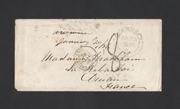 Enveloppe TAD Guernesey Passe Par Calais Taxe Tampon Verso Ambu.Paris A Brest Arrivée Dinan 29/01/1856 - 1849-1876: Classic Period