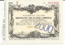 Ticket D'entrée Ministero Per I Beni Culturali E Ambientali - Roma - Italie - Tickets D'entrée
