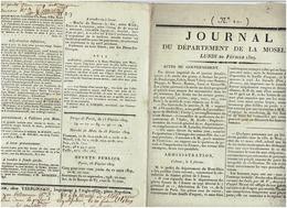 N°10   MOSELLE  :journal Du Département De La Moselle Du  20 Février 1809 (local Et International) - Journaux - Quotidiens
