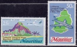 Mauritius, 1970, Inauguration Of Lufthansa Flight, Sc#370-371, MNH - Maurice (1968-...)
