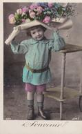 Jolie Carte Fantaisie - Portrait Enfant, FILLETTE Couverte D'un Bouquet De Roses - A Voir 2 Scans - Portraits