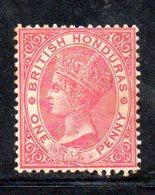APR152 - BRITISH HONDURAS 1882 , 1 Penny Yvert N. 14  *  Linguella Forte. D. 14  Fil CA. - Honduras Britannico (...-1970)