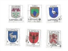Latvia 2007  Full Year Set  Definitive Issue  City LOGO  Birds , Animals, Grapes Used (0) 6 Pieces In Set - Latvia