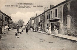 Saint-Antoine  47   La Route Nationale  De Paris A Bareges Tres Animée-Debit De Tabac Et Epicerie - France