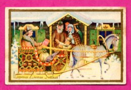 Latvia Lettland Christmas People And Horse Vintage Postcard 159 - Christmas