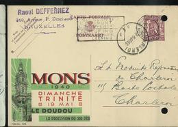 Publibel Obl. N° 463  ( MONS Le Doudou  19/05/1940  Obl. Bxl 08/05/40  (2 Trous De Classement !!) - Stamped Stationery