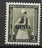 OCCUPAZIONE ITALIANA  ALBANIA 1942 FRANCOBOLLO SOPRASTAMPATO SASS. 37 MNH XF - Albania