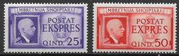 OCCUPAZIONE ITALIANA  ALBANIA 1940 ESPRESSI EFFIGE DI V.EMANUELE III SASS. 1-2 MLH VF - Albania