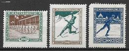 UNGHERIA 1925 A PROFITTO DELLE SOCIETA' SPORTIVE YVERT. 371-372-373 MLH VF - Nuovi