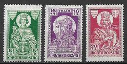 UNGHERIA 1930 CENTENARIO DELLA MORTE DI SANTO EMERIC YVERT. 428-429-430 MLH VF - Nuovi