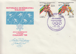 Enveloppe  FDC  1er  Jour   MADAGASCAR   JEUX   OLYMPIQUES     CALGARY    1988 - Hiver 1988: Calgary