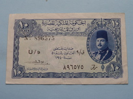 10 Piastres N° 896575 U/9 - 1940 Egyptian Currency Note > See Photo For Detail ! - Egypte
