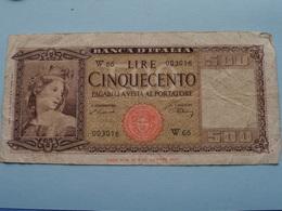 500 Lire Cinquecento - W 66 003016 - 1947 > See / Voir Photo For Detail ! - [ 2] 1946-… : République