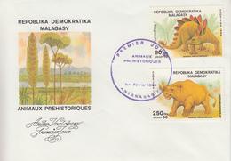 Enveloppe  FDC  1er  Jour    MADAGASCAR     ANIMAUX  PREHISTORIQUES   1989 - Preistorici