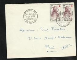 FDC Lettre Premier Jour Versailles Le 05/12/1959 Paire N°1226 Michel De L'Epée 742 Cachet Commémoratif Provisoire  Soldé - FDC
