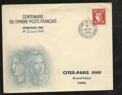 Lettre Illustrée Premier Jour Exposition Citex Grand Palais Centenaire Du Timbre Paris Le 01/06/1948 Le N°830TB  Soldé - ....-1949