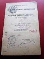 PERMIS INTERNATIONAL DE CONDUIRE CIRCULATION VÉHICULES VOITURE AUTOMOBILE Délivré à Paris 1956 CONVENTION ROUT-☛(Périmé) - Transportation Tickets