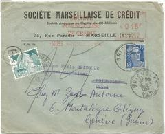 EMA 15FR MARSEILLE 1953 LETTRE POUR BRIGOLES REEXPEDIEE GANDON 15FR BLEU POUR SUISSE + TAXE 15C - 1945-54 Marianne De Gandon