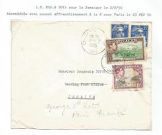 GANDON 15FR BLEUX2 CHANTILLY 2.2.1955 POUR JAMAICA  REEXPEDIEE A PARIS  AVEC JAMAICA 6D+1D  RARE - 1945-54 Marianne Of Gandon