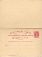 AFRIQUE DU SUD TRANSVAAL CARTE ENTIER POSTAL AVEC REPONSE PAYEE NEUVE ** - Afrique Du Sud (...-1961)