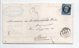 - Lettre J. GUIMARD, NANTES Pour PARIS 6.2.1856 - 20 C. Bleu Napoléon III Oblitéré Losange PC 2221 - A ETUDIER - - 1849-1876: Période Classique
