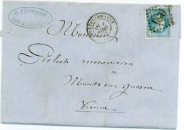 France N° 29A Y. Et T. Cachet Type 17 Châtellerault Vienne Du 06/04/1870 Ind 2 - Marcophilie (Lettres)